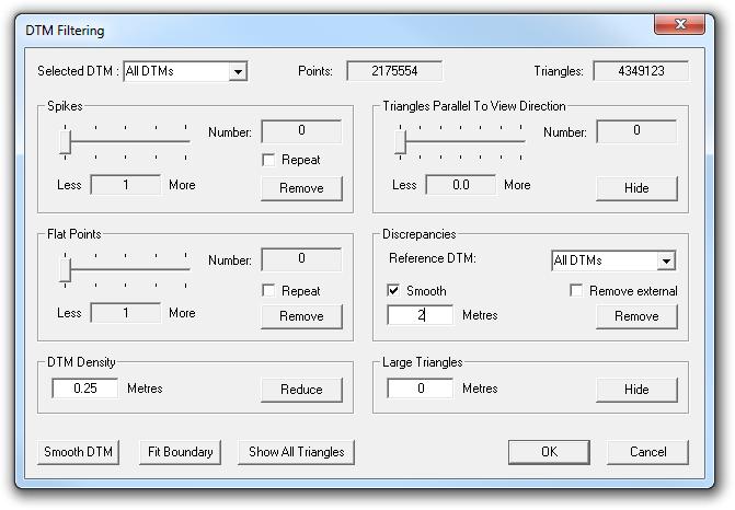 DTM Filtering dialog