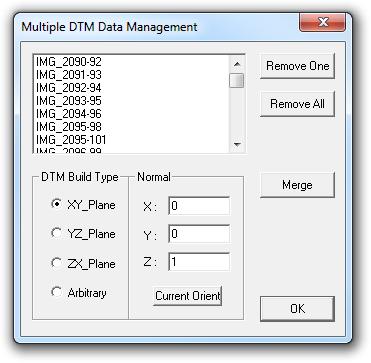 DTM Merging dialog